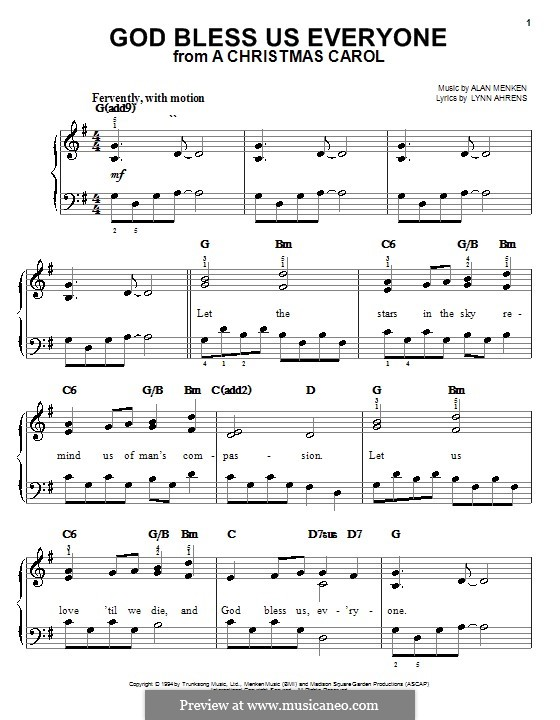 God Bless Us Everyone (from A Christmas Carol): For easy piano by Alan Menken