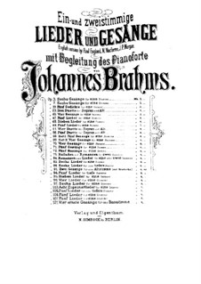 Five Songs, Op.105: Complete set by Johannes Brahms