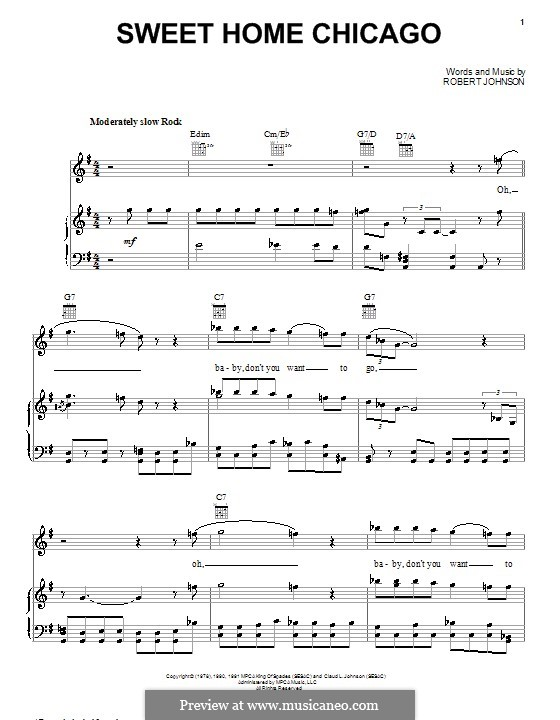 Sweet Home Chicago (Eric Clapton): For voice and piano (or guitar) by Robert Leroy Johnson