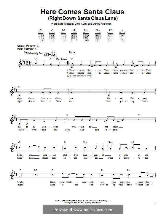Here Comes Santa Claus (Right Down Santa Claus Lane): For guitar (Carpenters) by Gene Autry, Oakley Haldeman