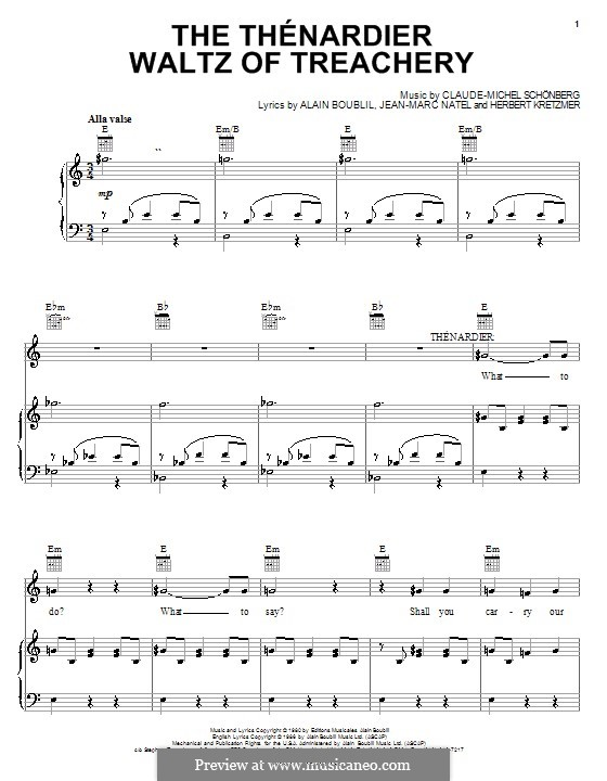The Thenardier Waltz of Treachery: For voice and piano (or guitar) by Claude-Michel Schönberg