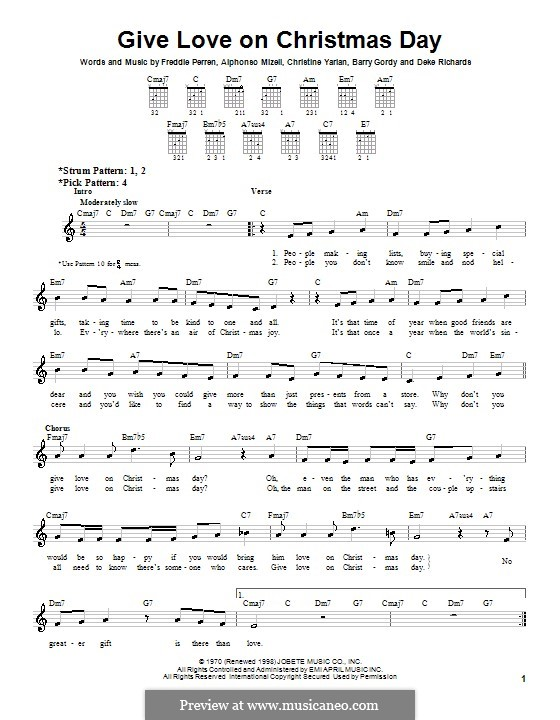 Give Love on Christmas Day by A. Mizell, C.Y. Perren, F. Perren on MusicaNeo