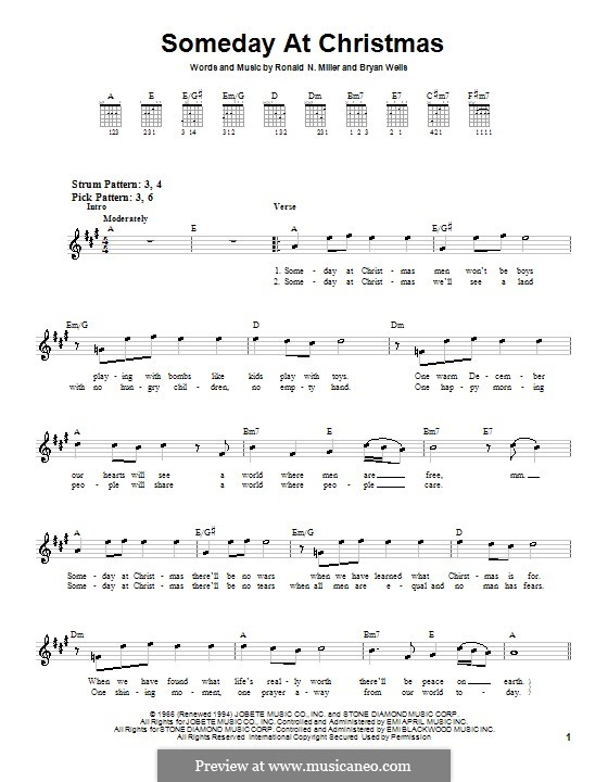 Someday at Christmas: For guitar (very easy version) by Bryan Wells