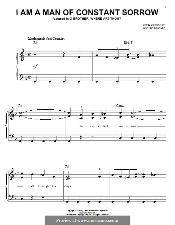 I am a Man of Constant Sorrow (The Soggy Bottom Boys): For easy piano by Carter Stanley