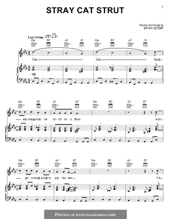 Stray Cat Strut (Stray Cats): For voice and piano (or guitar) by Brian Setzer