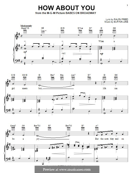 How About You? (from Babes on Broadway): For voice and piano or guitar (Frank Sinatra) by Burton Lane, Ralph Freed