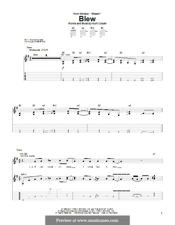 Blew (Nirvana) by K. Cobain - sheet music on MusicaNeo