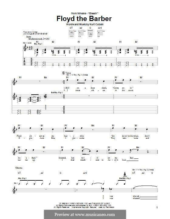 Floyd the Barber (Nirvana) by K. Cobain - sheet music on MusicaNeo