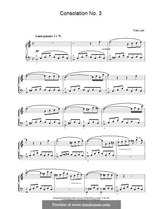 Consolations, S.172: No.3. Version in C Major by Franz Liszt