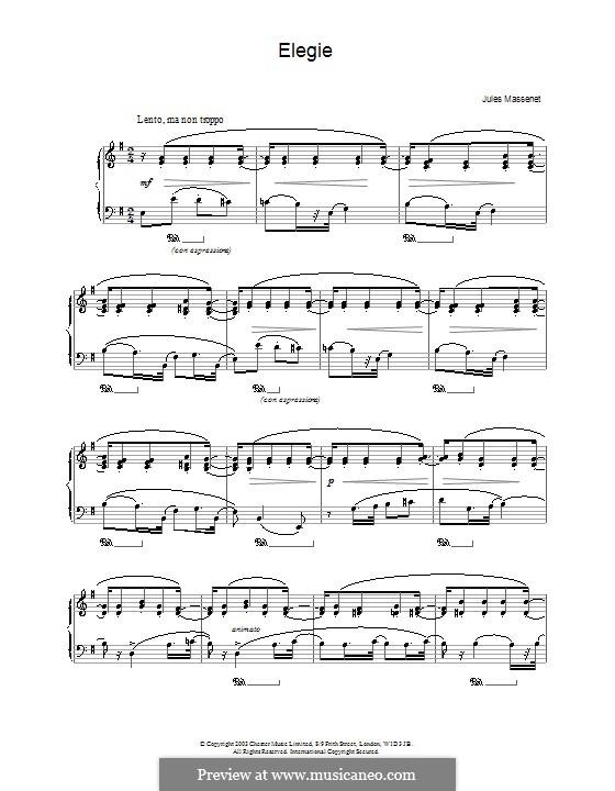 Dix pièces de genre, Op.10: No.5 Mélodie (Élégie) by Jules Massenet