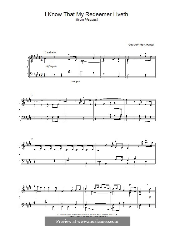 No.45 I Know That My Redeemer Liveth: For piano (high quality sheet music) by Georg Friedrich Händel