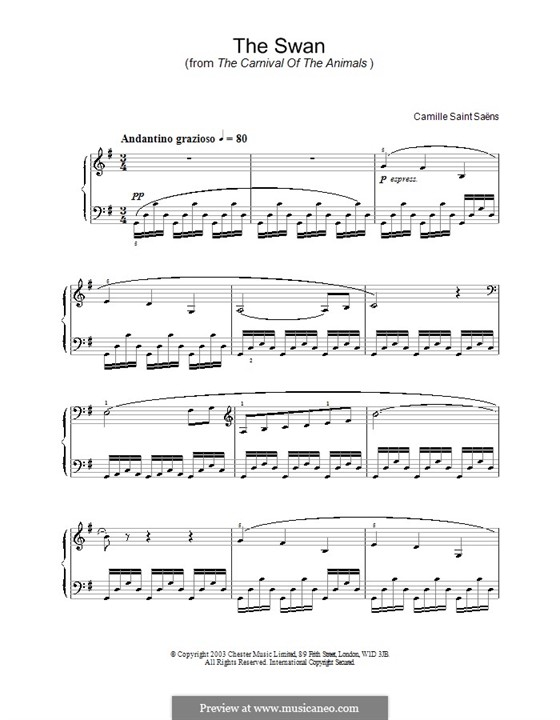 The Swan: For piano (high quality sheet music) by Camille Saint-Saëns