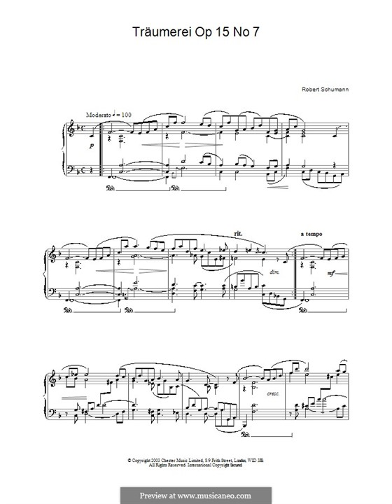 No.7 Träumerei (Dreaming): For piano (high quality sheet music) by Robert Schumann
