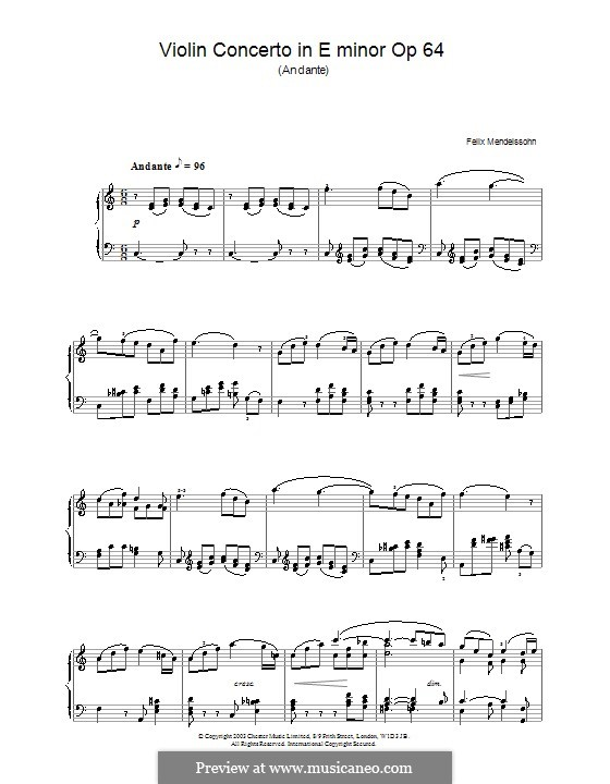 Concerto for Violin and Orchestra in E Minor, Op.64: Movement II. Version for piano by Felix Mendelssohn-Bartholdy