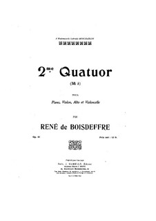 Piano Quartet in E Flat Major, Op.91: Full score, parts by René de Boisdeffre
