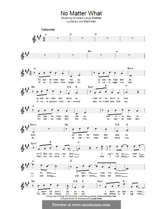 No Matter What (from Whistle Down the Wind): Melody line, lyrics and chords by Andrew Lloyd Webber