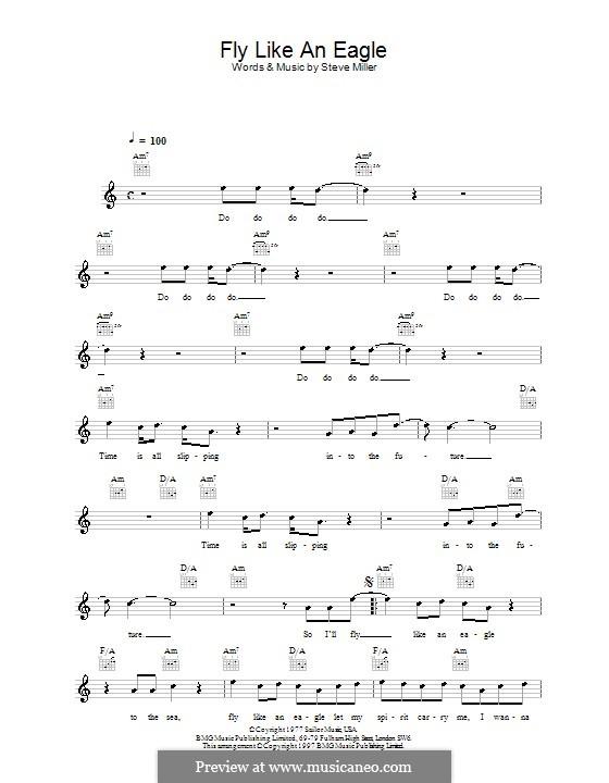 Fly Like an Eagle (Steve Miller Band): Melody line, lyrics and chords by Steve Miller