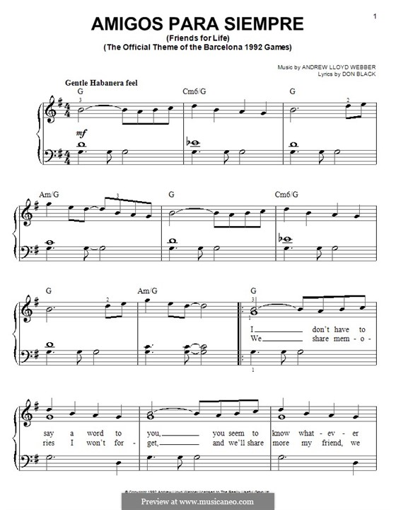 Amigos Para Siempre (Friends for Life): For easy piano by Andrew Lloyd Webber