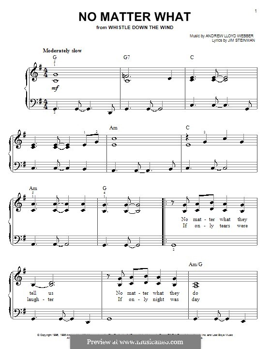 No Matter What (from Whistle Down the Wind): For easy piano (with chords) by Andrew Lloyd Webber