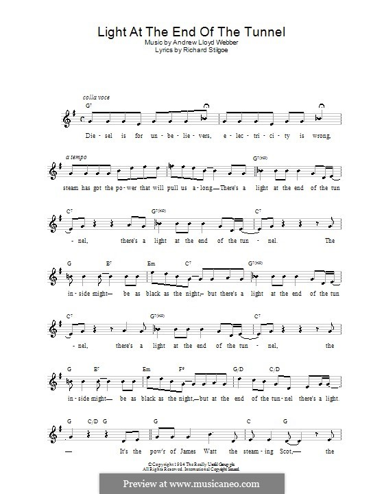 Light at the End of the Tunnel: Melody line, lyrics and chords by Andrew Lloyd Webber