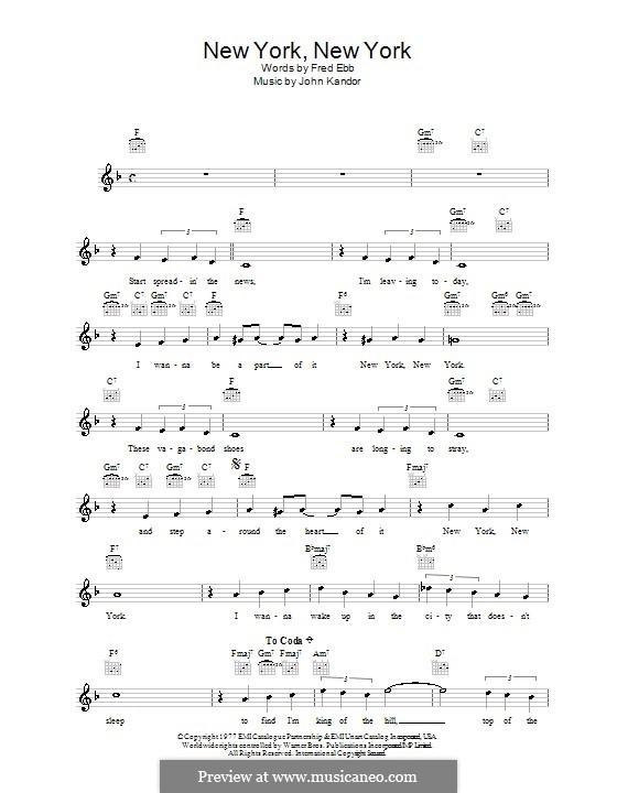 New York, New York (Frank Sinatra): Melody line, lyrics and chords by John Kander