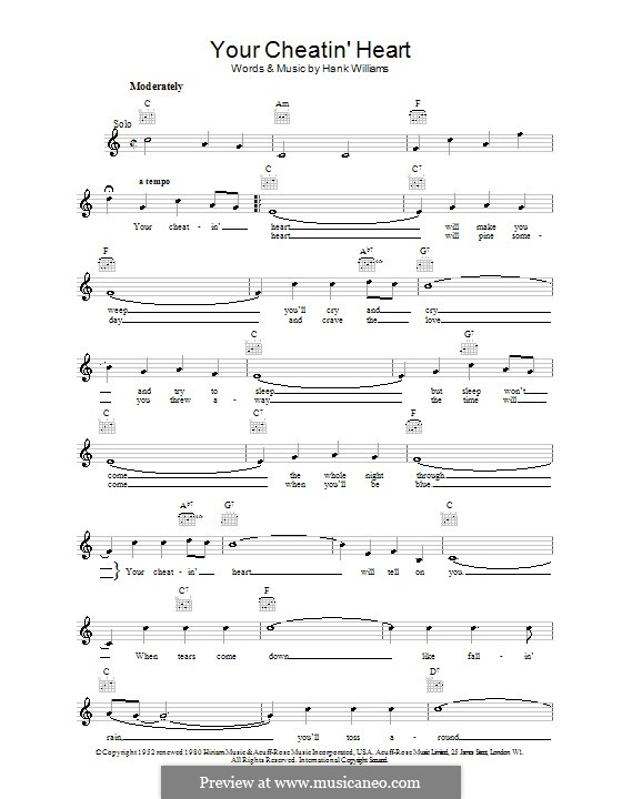 Your Cheatin' Heart: Melody line, lyrics and chords by Hank Williams