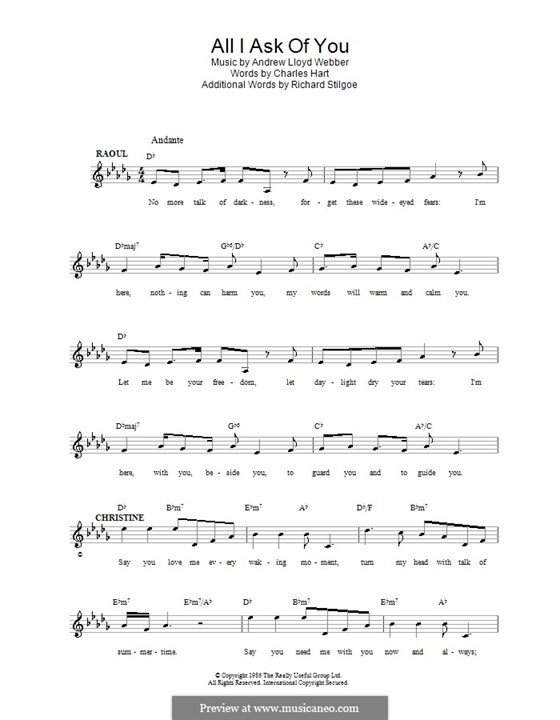 All I Ask of You: Melody line, lyrics and chords by Andrew Lloyd Webber