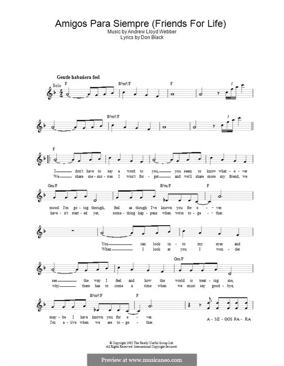 Amigos Para Siempre (Friends for Life): Melody line, lyrics and chords by Andrew Lloyd Webber
