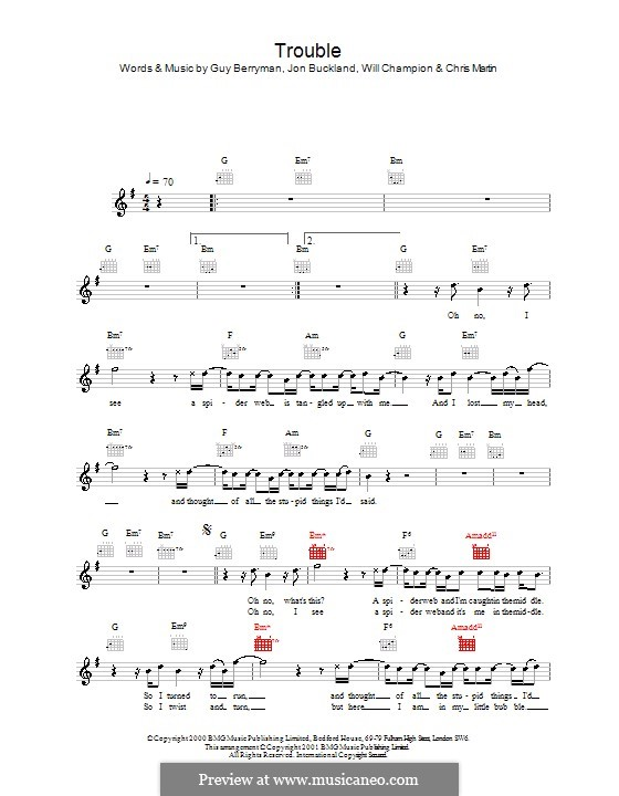 Trouble (Coldplay) by C. Martin, G. Berryman, J. Buckland, W ...