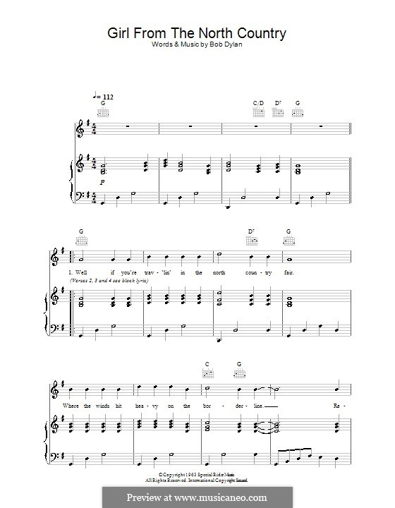 Girl from the North Country: For voice and piano (or guitar) by Bob Dylan