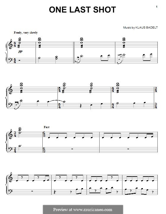 One Last Shot (from Pirates of The Caribbean: The Curse of the Black Pearl): For piano by Klaus Badelt