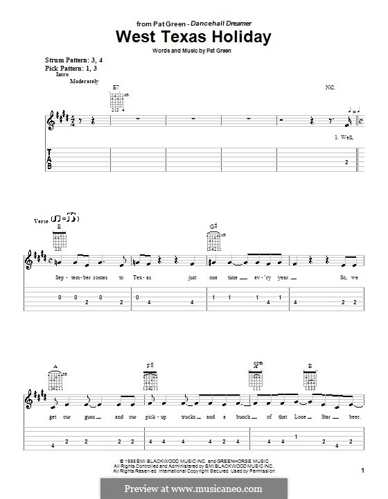 West Texas Holiday: For guitar (very easy version) by Pat Green
