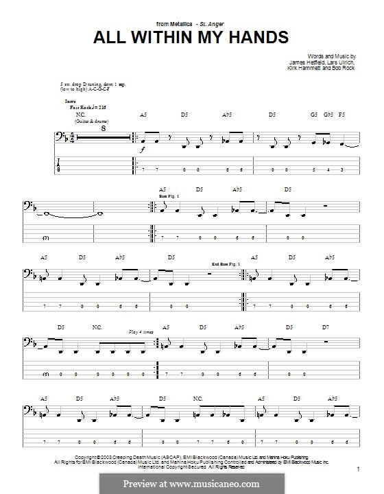 All Within My Hands (Metallica): For bass guitar with tab by Bob Rock, James Hetfield, Kirk Hammett, Lars Ulrich