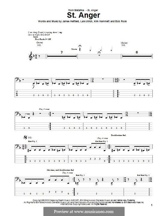 St. Anger (Metallica): For bass guitar with tab by Bob Rock, James Hetfield, Kirk Hammett, Lars Ulrich
