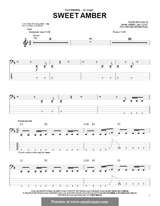 Sweet Amber (Metallica): For bass guitar with tab by Bob Rock, James Hetfield, Kirk Hammett, Lars Ulrich