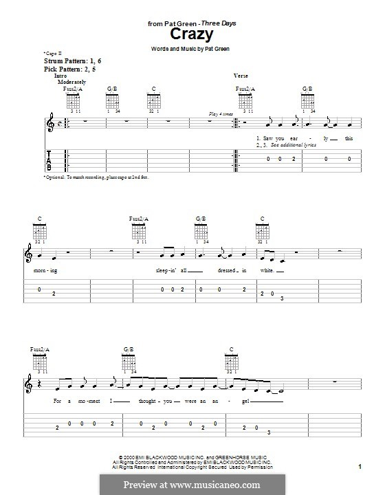Crazy: For guitar (very easy version) by Pat Green
