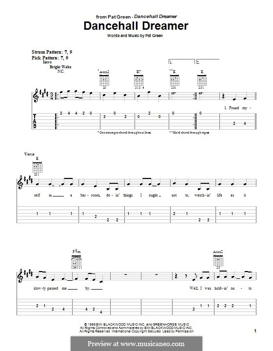 Dancehall Dreamer: For guitar (very easy version) by Pat Green