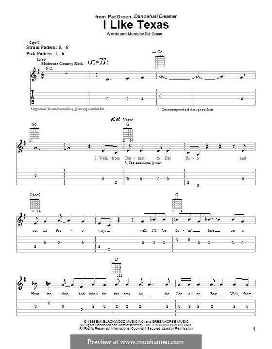 I Like Texas: For guitar (very easy version) by Pat Green