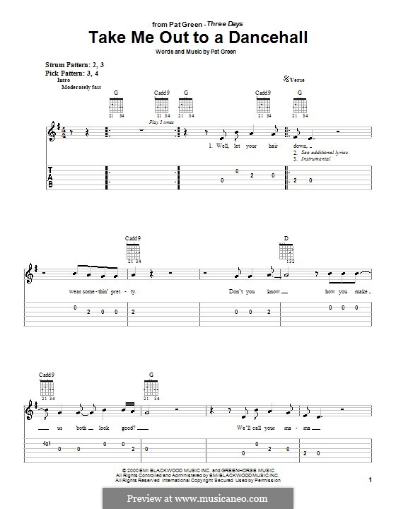 Take Me Out To a Dancehall: For guitar (very easy version) by Pat Green
