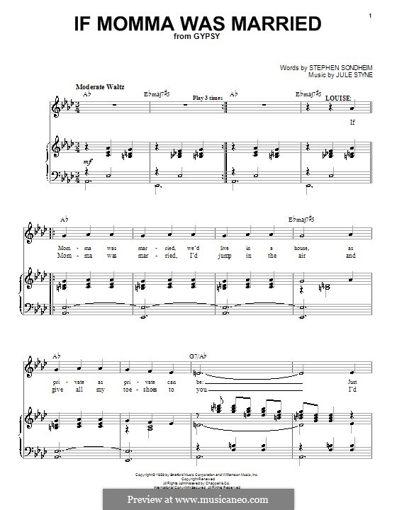 If Momma Was Married: For voice and piano (or guitar) by Jule Styne