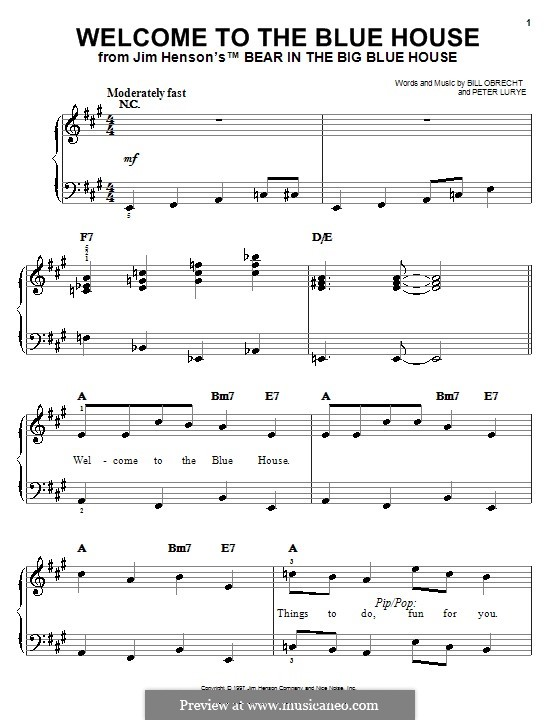 Welcome to the Blue House: For easy piano by Peter Lurye