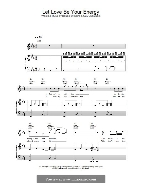 Let Love Be Your Energy: For voice and piano (or guitar) by Guy Chambers, Robbie Williams