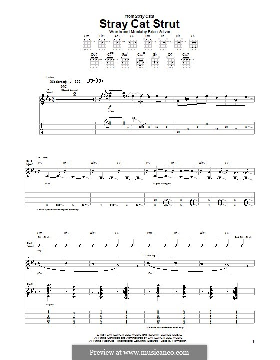 Stray Cat Strut (Stray Cats): For guitar with tab by Brian Setzer