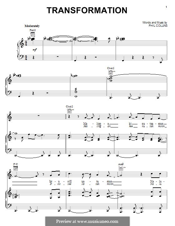Transformation (from Walt Disney's Brother Bear): For voice and piano (or guitar) by Phil Collins
