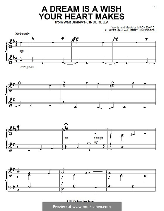 A Dream Is a Wish Your Heart Makes (from Disney's Cinderella): For piano by Al Hoffman, Jerry Livingston, Mack David
