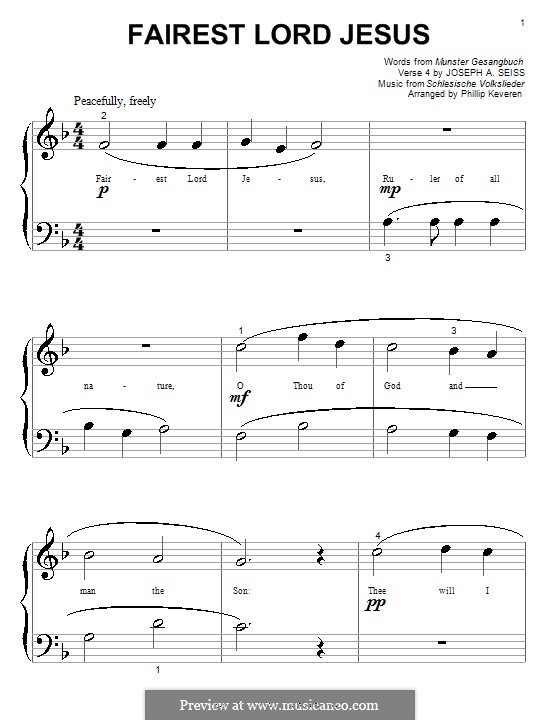 Fairest Lord Jesus: For piano (F Major) by folklore