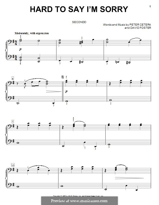 Hard to Say I'm Sorry (Chicago): For piano four hands by David Foster, Peter Cetera