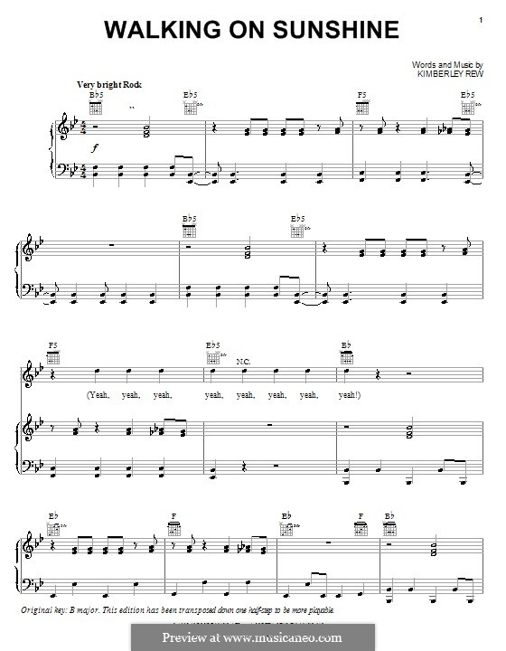 Walking on Sunshine (Katrina and The Waves): For voice and piano (or guitar) by Kimberley Rew