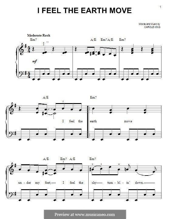 I Feel the Earth Move: For easy piano by Carole King