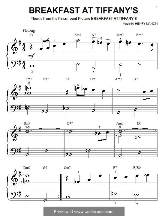 Breakfast at Tiffany's: For piano (very easy version) by Henry Mancini